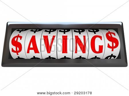 The word Savings in red letters on an odometer of a vehicle or device counting or tallying the money saved at a sale or discount clearance event