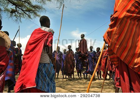 OLDUVAI GORGE, TANZANIA, DECEMBER 23, 2011 Masai Man dancing
