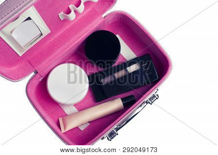 poster of Set Of Woman's Cosmetics In A Bag. Women's Secrets. Cosmetics, Perfume, Brushes, Powder, Highlighter
