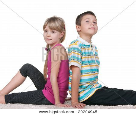 Thoughtful Kids Sitting Backsides