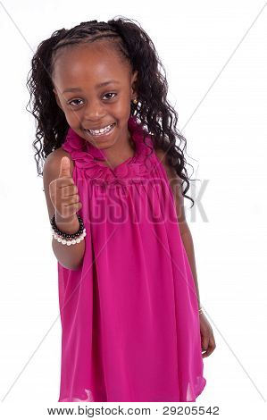 Little African American Girl Making Thumbs Up