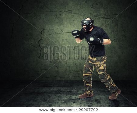 krav maga athete and grunge background