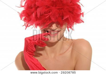 beautiful woman in red gloves and hat