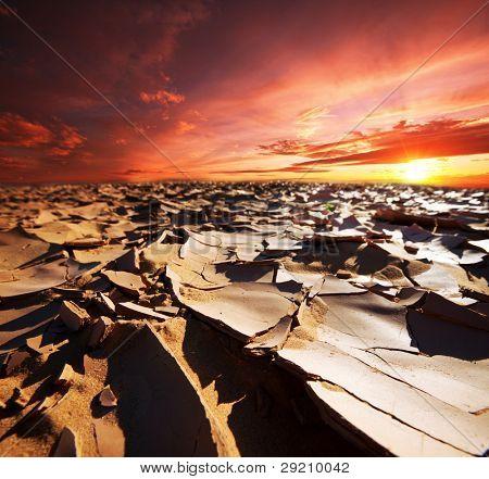 drought land at sunset