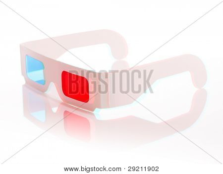Stereoscopic anaglyph 3D image of disposable paper 3D glasses.