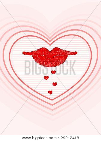 Vector illustration of lips with hearts reflection on pink color background for Valentines Day and other occasions.