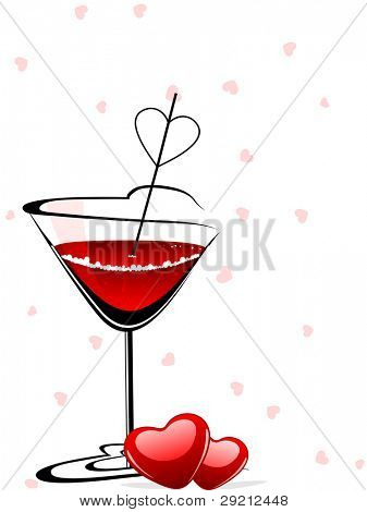 Heart shaped wine glasses filled with love wine with heart shapes on seamless background for Valentines Day and other occasions.