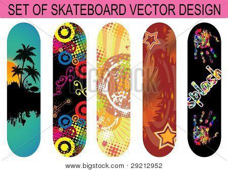 Set Of Skateboard Designs