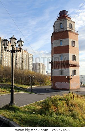 Memorial Red Brick Light Tower In Murmansk, Russia