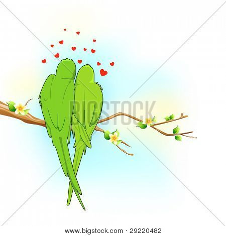 illustration of couple of parrot sitting on tree in romance mood