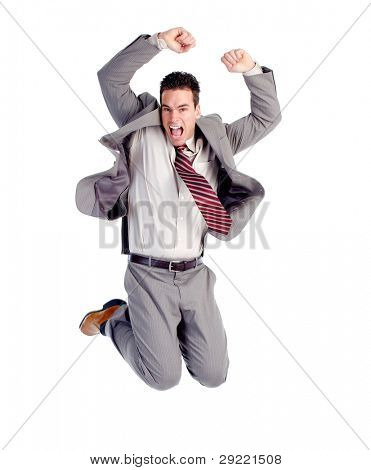 Happy jumping businessman. Isolated over white background.