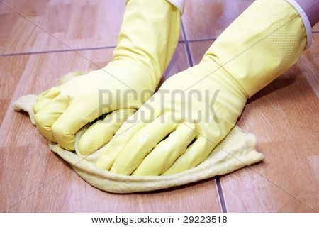 Cleaning Of A Kitchen Tile