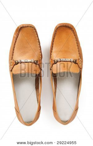 Pair Of Female Brown Moccasins Isolated