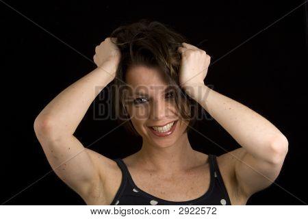Brunette Hand On Head