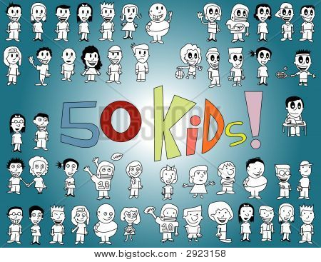 Fifty Kids Vector Illustration