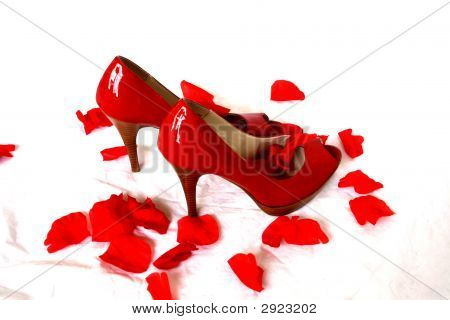Shoes And Rose Petals
