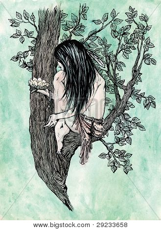 duendes da floresta com flor de lírio em sua mão em um galho de árvore