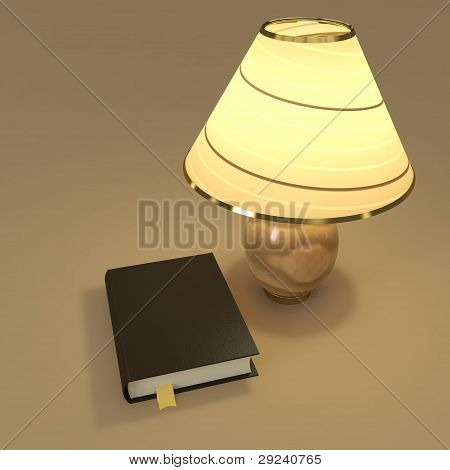 Book And Table Lamp Composition