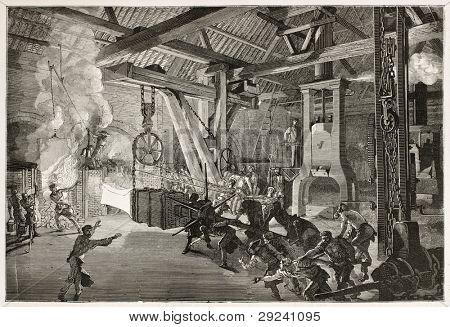 Steam hammer old illustration in Le Creusot foundry. Created by Bonhomme, published on Le Tour du Monde, Paris, 1867