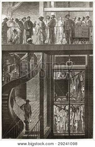 Descent into a mine by elevator, old illustration (Le Creusot, France). Created by Neuville after Bonhomme, published on Le Tour du Monde, Paris, 1867