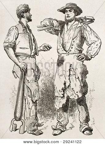 Forge workmen old illustration. Created by Neuville after Bonhomme, published on Le Tour du Monde, Paris, 1867