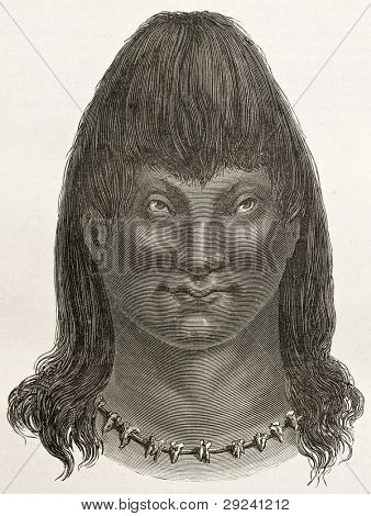 Cambeba indian old engraved portrait (Brazil's amazon valley). Created by Riou, published on Le Tour du Monde, Paris, 1867