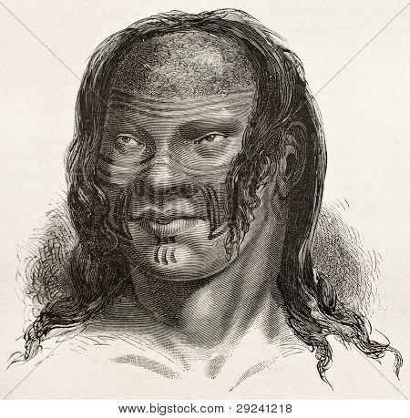 Barre indigenous old engraved portrait, Brazil. Created by Riou, published on Le Tour du Monde, Paris, 1867
