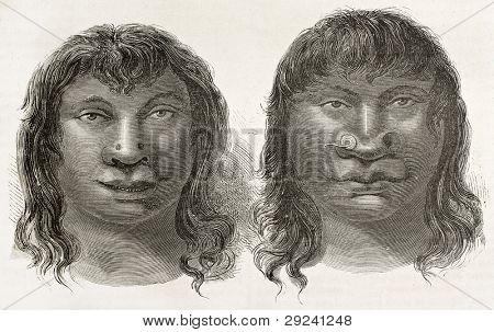 Miranha indigenous old engraved portraits, Brazil. Created by Riou, published on Le Tour du Monde, Paris, 1867