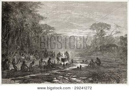 Masaya indigenous coocking old illustration, Amazonas. Created by Riou, published on Le Tour du Monde, Paris, 1867