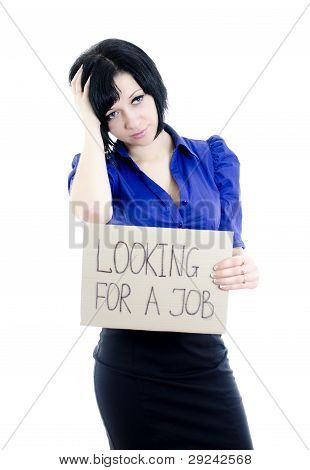 Unemployed Woman With Cardboard Looking For A Job. Isolated Over White.