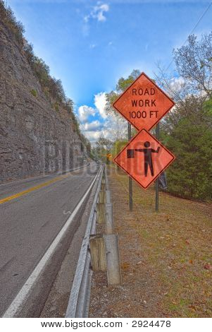 Road Arbeit in den Bergen