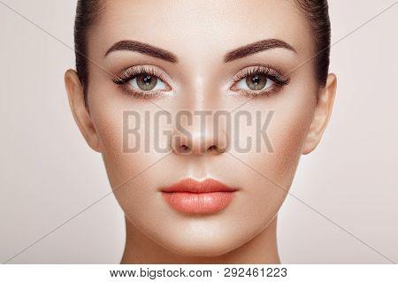 poster of Beautiful Woman With Extreme Long False Eyelashes. Eyelash Extensions. Makeup, Cosmetics. Beauty, Sk