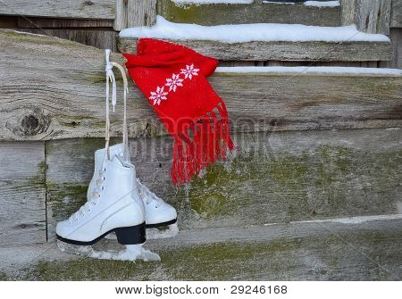 ice skates with scarf