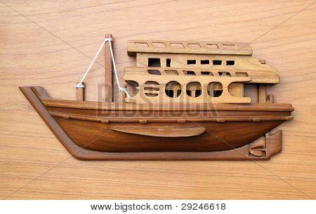 Wood Boat Model On Wood Background