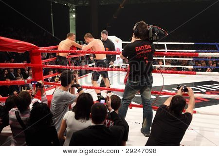 MOSCOW - MARCH 12: Anton Shcherbina (right) and Vladimir Voitekhovsky (left) fight at ring at Fight Nights Battle of Moscow-3 in Crocus City, on March 12, 2011 in Moscow, Russia.