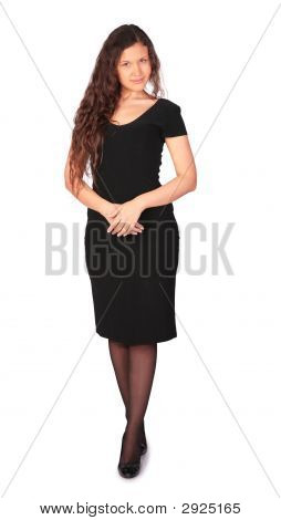 Young Pretty Girl In Black Dress