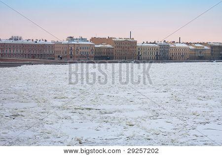 Kutuzov Embankment And Frozen Neva River, St. Petersburg, Russia