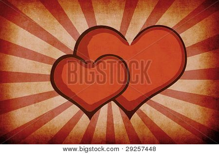 Red Abstract Grunge Hearts Background
