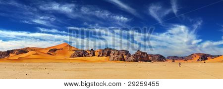 Sand dunes and rocks, Sahara Desert, Algeria