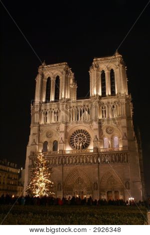 Notre Dame De Paris In Christmas Night