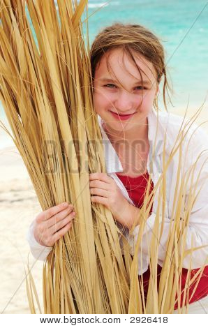 Portrait Of A Girl On Tropical Beach