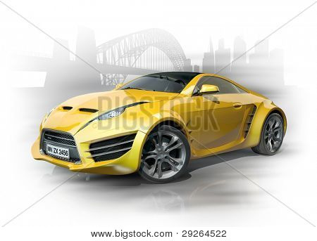 Yellow sports car against an urban background. Non-branded car design.