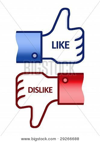 Like Dislike Thumb Up Signs