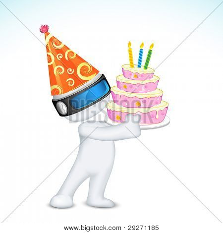 illustration of 3d man in vector fully scalable holding birthday cake