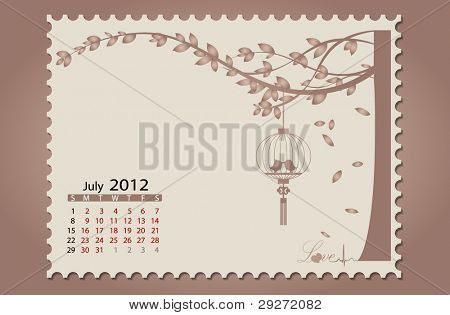 Romantic vintage background 2012 calendar,July. Vector Illustration. Easy editable.