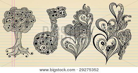 Notebook Doodle Sketch Vector Illustration Henna Art Set