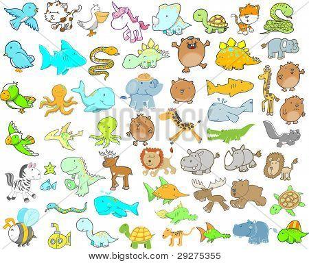 Cute Animal Ocean Safari Wildlife Dinosaur Vector Illustration Design elements Mega Set