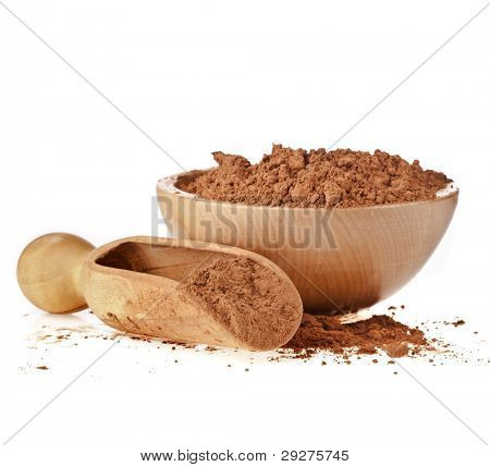 cocoa powder with wooden bowl and scoop isolated on white background