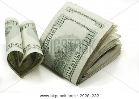Stack Of Folded 100 Dollar Bills One Heart Shaped