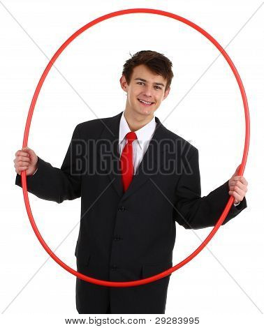 Business Guy Going Through A Hoop
